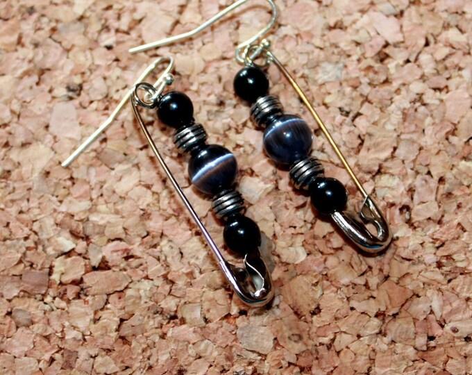 Dark Grey Cats Eye Safety Pin Earrings, Retro Earrings,  Dangle Earrings, Bell Art Designs 142