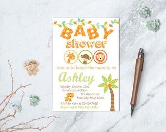 Safari Baby Shower Invitation, Jungle Baby Shower Invite, Safari Baby, Jungle Baby Shower, Safari Animals Baby Shower, Jungle Animals, Wild