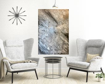 big abstrakt painting with silver leaf ; großes abstraktes Bild mit Blattsilber GRAY-Collection by nbr_art
