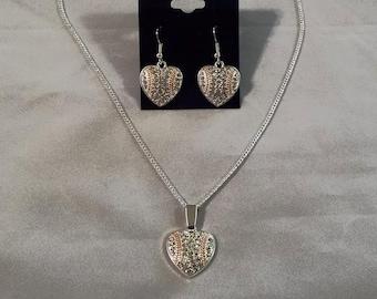 Sports Mom Rhinestone Baseball Heart Necklace and Earring Set