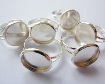 6 ring shanks, blanks, bases, settings, Ø12mm, silver
