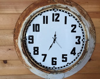 Vintage enamel wall clock | white rusty metal finish | original | authentic