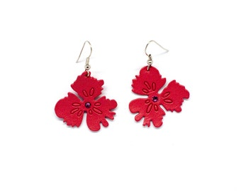 """Earrings leather flower """"Thoughts"""" pink and rhinestone handmade"""