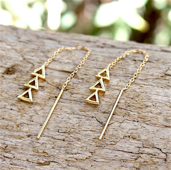 Gold plated chain and earrings triangles 3 Micron 18 ct