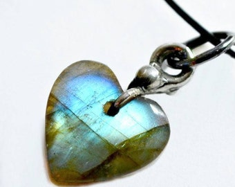 Little Heart Necklace, Labradorite Heart, Little Heart Charm, Artisan Jewelry, Small Heart, Labradorite Heart, Sweet Necklace  (2268)