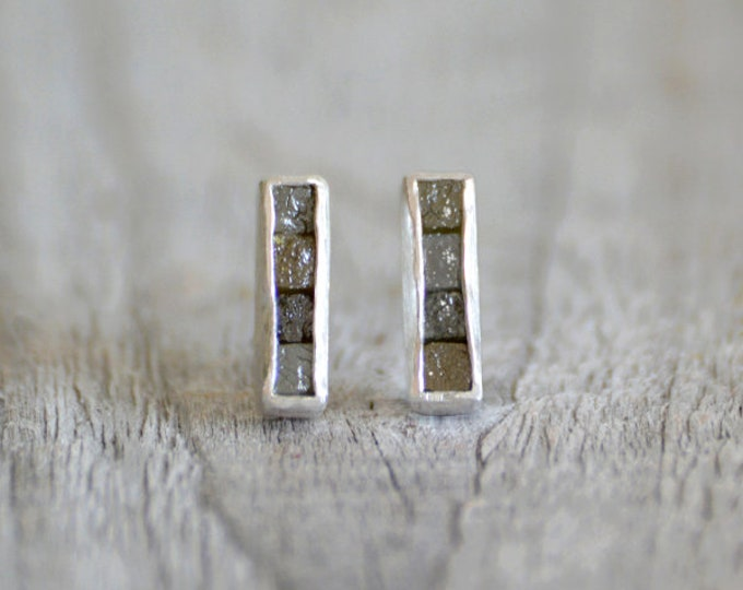Raw Diamond Mosaic Earring Studs, Total 1ct Raw Diamonds, Diamond Wedding Gift, Diamond Earring Studs, April Birthstone