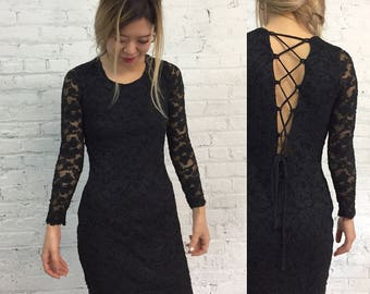 vintage CACHE black lace lbd with corset lace up back / black bandage body con cocktail dress