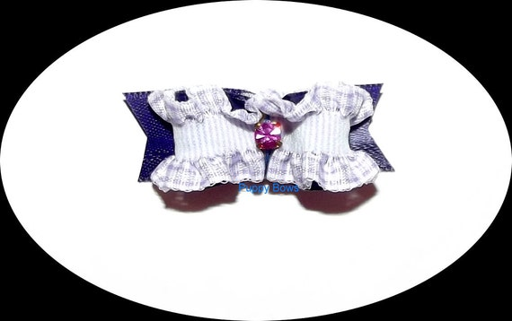 Puppy Bows ~ RUFFLE gingham red pink purple green dog pet hair bow - USA made and sold