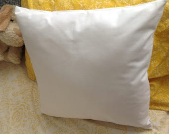 Pre-shrunk White cotton twill pillow cover, made to order, blank throw pillow cover, invisible zipper closure/ envelope closure pillow cover