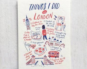 J'ai fait des choses dans Londres typographie carte postale