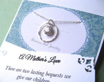 MOM Gift Mom Necklace - CUBIC ZIRCONIA Set in Sterling Silver 2 Poem's to Choose From Mother Jewelry - Gift Wrapped!!