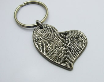 Rustic Metal Heart Fingerprint Keychain, Dark Silver Fingerprint Heart Keychain, Fingerprint Jewelry, Fingerprint Memorial Keepsake, Custom