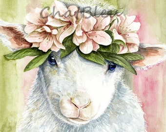 Spring Lamb Art  -  Agneau Printanier -  Watercolor Archival Print A4  -  Nursery Art - N20