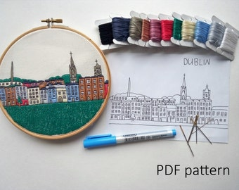 Dublin. Hand Embroidery pattern PDF. Embroidery Hoop art, Hand Embroidery, Wall Decor, Housewarming Gift. Free Hand embroidery guide!