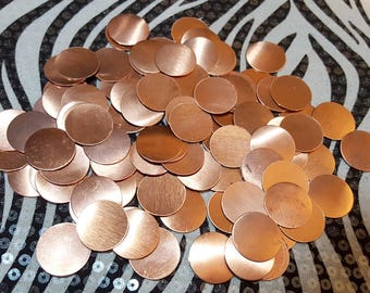 Copper Blanks Discs Circles Coin Beads, 20 Piece 7/8 inch Unfinished Surface NO Holes, Pure Solid Copper, Metalworking Supplies, reclaimed