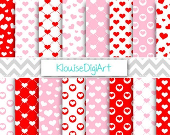Pink, Red and White Valentine's Day Hearts Printable Digital Paper Pack for Personal and Small Commercial Use (0210)