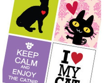 Cat Love  - 7/8 (.875) Inch Pendant Images - Digital Sheet - PDF - Buy 2 Get 1 Free
