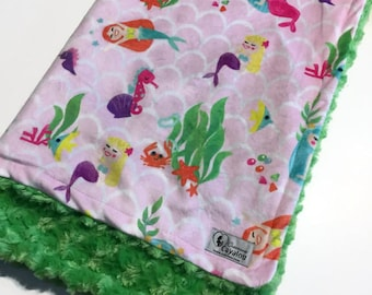 Soft baby blanket double minky reversible cayalou baby mermaids