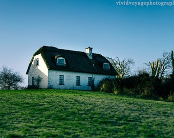 Ireland Photography, Architecture Art, Irish Cottage Photo, Blue Green Decor, Farmhouse Photograph, Thatched Roof House, Travel Art