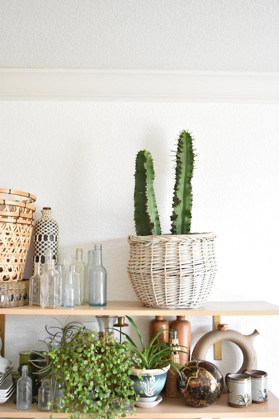 large vintage woven white basket planter / flower pot