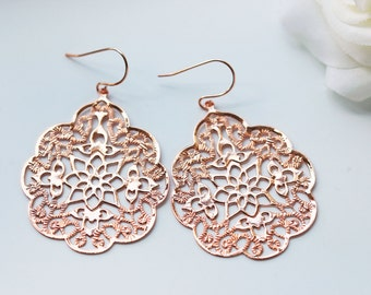 Rose Gold Filigree Earrings Titanium Modern Boho Style Nickel Free