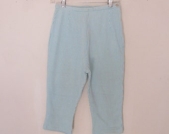 1950s Vintage Susan Laurie Turquoise and White Waled Capri Pants / Clamdiggers - Perfect Pinup Pedal Pushers in Excellent Condition