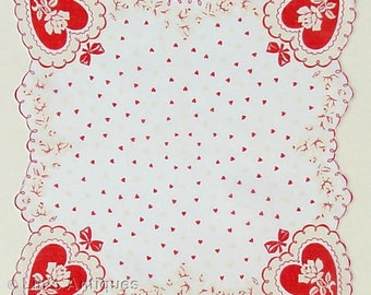 Vintage Valentine Hanky with Red Hearts and White Roses (Inventory #M2861)