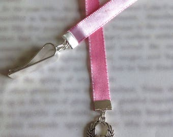 Angel Wings bookmark / Angel Bookmark / Guardian Angel- Clip to book cover then mark page with the ribbon. Never lose your bookmark!
