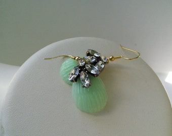 SALE Ready TO SHIP Mint Green Teardrop Lucite Vintage Style Rhinestone Gold Bridal Earring
