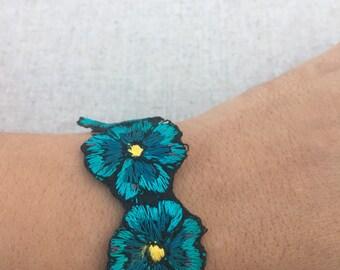 Blue Flower Embroidered Bracelet