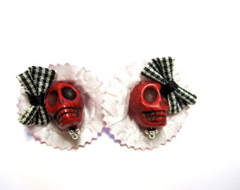 Day of The Dead Earrings Sugar Skull Jewelry Red Black Hat Bow