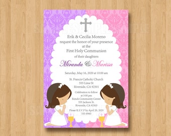 First or Second Holy Communion Invitation Digital File Twin Girls Pink Purple Lavendar Cute Unique