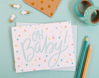 Oh Baby! Baby Shower card, Baby gift, Gender Neutral, Illustration, Greeting Card, Welcome little one, mama to be, expecting mother Congrats