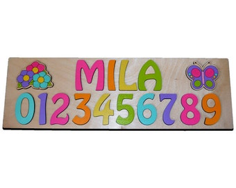 Butterfly & Flowers Personalized Wooden Name Puzzle With Numbers id242805052