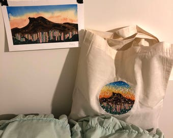 Nr. 10 A Random Evening - Hand Embroidery art piece, tote bag art, needle work, embroidered tote bag, hand stitch