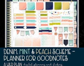 GoodNotes digital planner for iPad / iPad Pro - Denim, Mint & Peach planner with digital stickers - 2018 dated overview - Monday Start