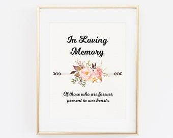 In Loving Memory, Printable Wedding Memorial Sign, Floral wedding sign, In Loving Memory Printable, Wedding Remembrance Sign, Wedding Print
