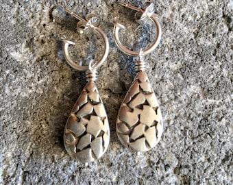 Sterling Silver Earrings Teardrop Earrings Hoop Earrings Everyday Jewelry Simple Earrings Gift For Her Gift Under 50 Unusual Earrings Women