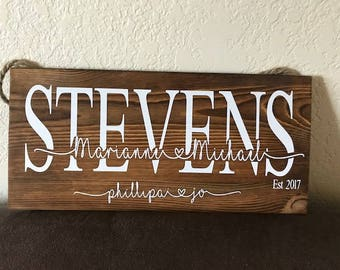 Family names, Personalized plaque, Custom sign, Personalized Wooden Sign, Wedding gift, Housewarming gift,