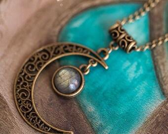 Luna Labradorite - pattern Art pendant