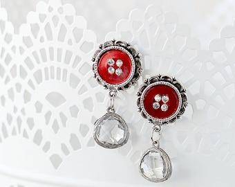 Romantic Drop Earrings - Button Earrings with Dangle - Red Earrings - Post Earrings - Earrings for the Wife - Drop Earrings for Mom