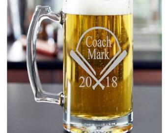Personalized Coaches Gift, Baseball Coach, Softball Coach, Coaches Gift, Gift for Coaches, Softball Coach, Coach Beer Mug, Baseball Beer Mug