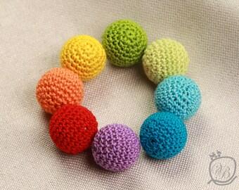 Crochet beads 8 PCS, 20mm Wooden crochet beads Colorful crochet beads Rainbow crochet wooden beads