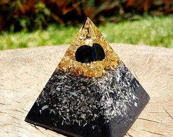 Onyx Orgone Energy Pyramid - Spiritual Gift - Feng Shui Decor - Empath Protection - Positive Energy - Root Chakra Healing