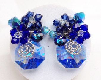 Royal Blue Earring - Stud earrings - Statement Jewelry - Something Blue - London Blue Jewelry - Sapphire  Jewelry - Glamorous Jewelry