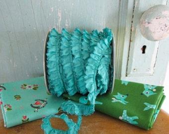 New Teal Crochet Edge Trim No407. Turqouise Ribon.  Turquoise Fabric. Teal Fabric.  Blue Ruffles.  Blue and Green.  Seafoam.