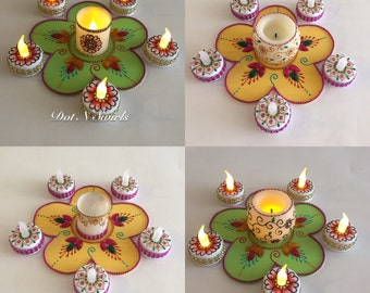 Handmade,flameless  LED Tea lights and Votive set/Party favor/Home decor/Holiday decor/diwali decor/diwali diyas/ small gift