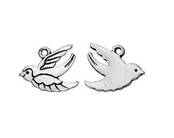 SET of 3 flying (D29) silver swallow bird charm