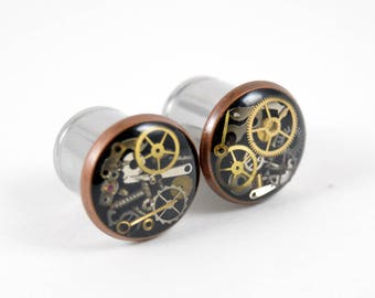 9/16 1/2 7/16 00g 0g 2g 4g 6g 8g 10g 12g Steampunk Tunnels Gauges Plugs filled with watch parts LIMITED EDITION