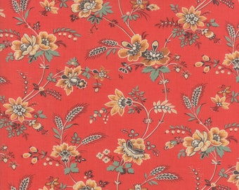Bohemian Floral in Barn Red - Purebred II by Erin Michael - Moda cotton fabric - half yard or more